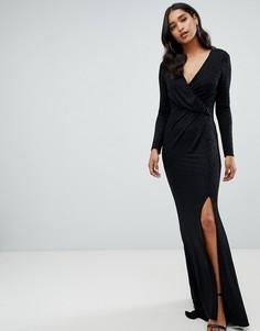Черное платье макси с запахом и блестками Lipsy - Черный