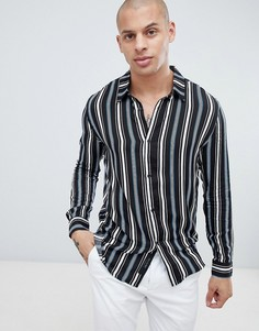 Рубашка из вискозы с отложным воротником и полосками Religion - Черный