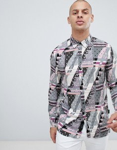 Рубашка с геометрическим принтом и воротником в виде лацканов Religion - Черный