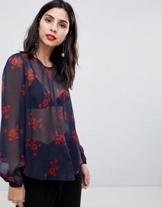 Блузка с завязкой спереди Y.A.S - Темно-синий