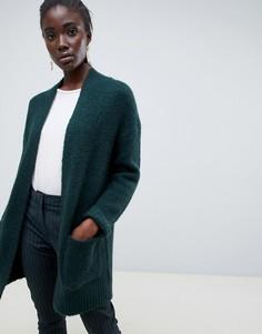 Удлиненный шерстяной кардиган Selected - Зеленый