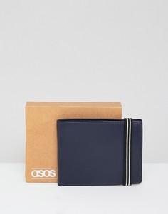 Темно-синий кожаный бумажник с эластичной лентой ASOS DESIGN - Темно-синий