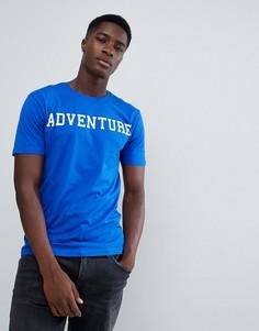 Футболка с надписью Adventure Troy - Синий