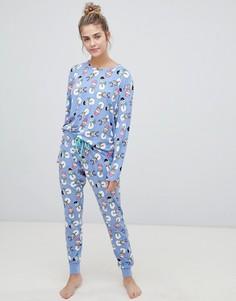 Пижама с принтом ратраков Chelsea Peers - Фиолетовый