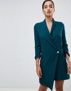 Зеленое платье со сборками на рукавах и асимметричным краем Vesper - Зеленый