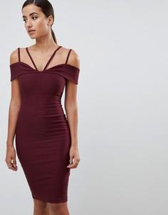 Темно-красное платье миди с ремешками Vesper - Фиолетовый