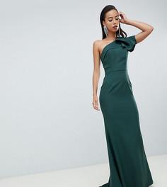 Зеленое платье макси на одно плечо с оборкой Jarlo Tall - Зеленый