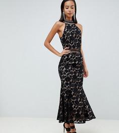 Черное кружевное платье макси с американской проймой Jarlo Tall - Черный