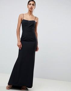 Черное платье макси с кружевной отделкой Jarlo - Черный