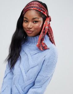 Головной платок с цветочным и плиточным принтом ASOS DESIGN - Красный