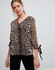 Топ с леопардовым принтом и завязками на рукавах Pieces - Черный