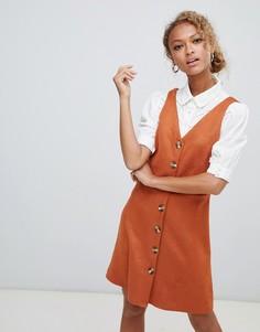Платье из искусственной замши на пуговицах New Look - Оранжевый