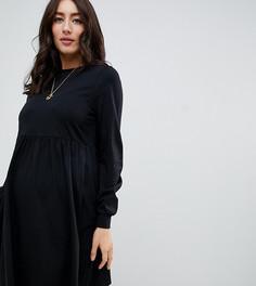 Хлопковое свободное платье с длинными рукавами ASOS DESIGN Maternity - Черный