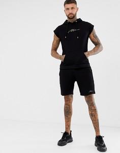 Черный спортивный костюм из майки и шортов с золотистой вышивкой boohooMAN - Черный