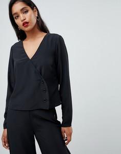Блузка с пуговицами сбоку Vila - Черный