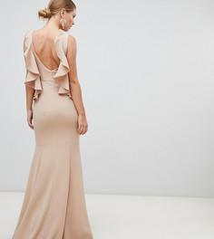Серо-коричневое платье макси с открытой спиной и оборкой Yaura - Бежевый