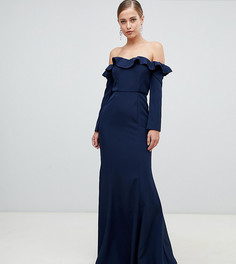 Темно-синее платье макси с открытыми плечами и оборкой Yaura - Темно-синий