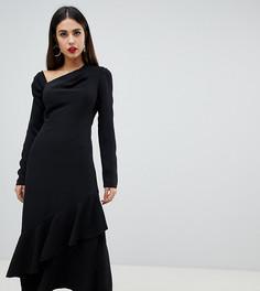 Черное приталенное платье миди с вырезом по косой и оборкой Yaura - Черный