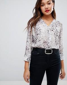 Рубашка со змеиным принтом New Look - Серый