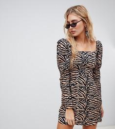 Платье мини с тигровым принтом и буфами на рукавах Reclaimed Vintage Inspired - Коричневый