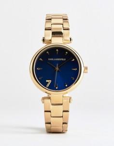 Позолоченные часы с синим циферблатом Karl Lagerfeld KL5001 - Золотой