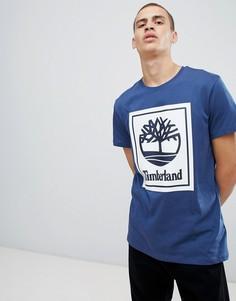 Timberland back box logo print t-shirt in dark blue - Синий