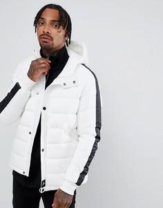 Белая дутая куртка с черной окантовкой Sixth June - Белый