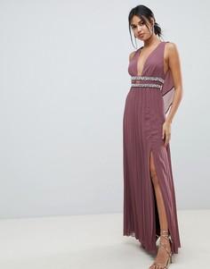 Плиссированное платье макси с лентой и отделкой ASOS DESIGN - Красный