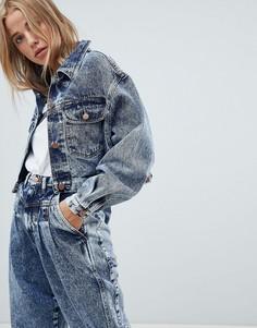 Укороченная выбеленная джинсовая куртка Wrangler - Синий