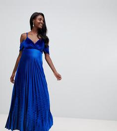 Бархатное платье макси со свободным воротом ASOS DESIGN Maternity - Синий