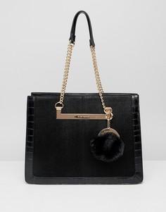 Черная структурированная сумка на плечо с ремешком-цепочкой River Island - Черный