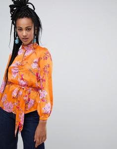 Оранжевая блузка с цветочным принтом и поясом River Island - Оранжевый