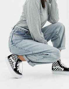 Черные высокие кроссовки в шахматную клетку на платформе Vans Sk8 - Черный