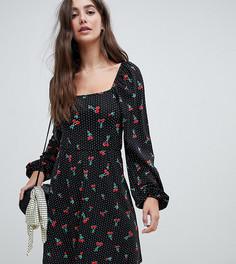 Короткое приталенное платье в горошек с квадратным вырезом ASOS DESIGN Tall - Мульти