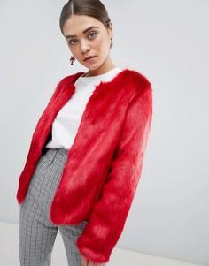 Красный полушубок без воротника из искусственного меха Unreal Fur - Красный