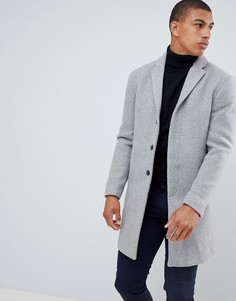 Серое пальто из переработанной шерсти Selected Homme - Серый