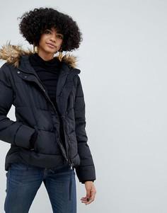 Удлиненная дутая куртка с искусственным мехом b.Young - Черный