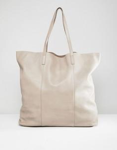 Большая кожаная сумка для покупок Depp - Серый