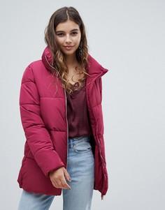 Длинная дутая куртка с высоким воротником JDY - Красный