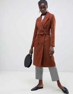 Шерстяное двубортное пальто миди Selected - Коричневый