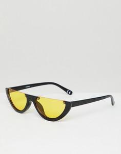 Овальные солнцезащитные очки с оранжевыми стеклами ASOS DESIGN - Черный
