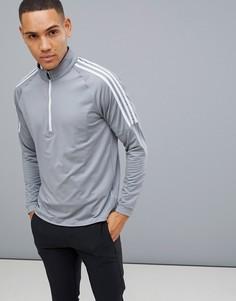 Серый свитшот с короткой молнией adidas Golf - Серый