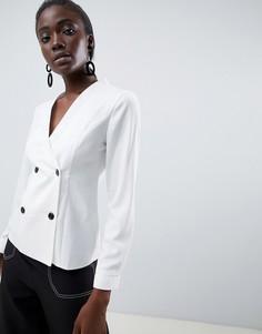 Блузка с отделкой под смокинг ASOS DESIGN - Белый