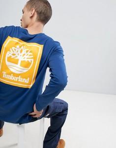 Синий лонгслив с логотипом Timberland - Синий