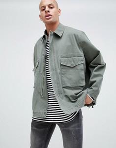 Куртка цвета хаки в стиле милитари ASOS DESIGN - Зеленый