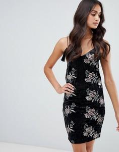 Платье-комбинация с цветочным принтом и пайетками Girls on Film - Черный