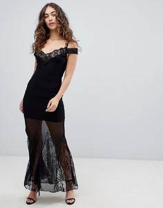 Платье макси с сетчатыми вставками Girls on Film - Черный
