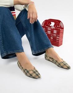 Туфли на плоской подошве в клетку Bershka - Мульти