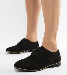 Броги из искусственной замши для широкой стопы New Look - Черный