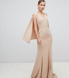 Платье макси с глубоким вырезом и кейпом Yaura - Бежевый